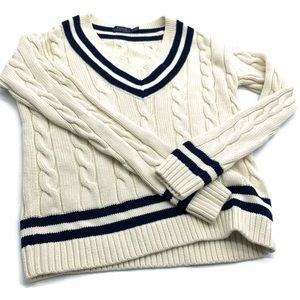 POLO RALPH LAUREN VARSITY SWEATER V NECK CREAM S